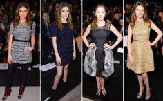 Anna Kendrick esteve em quase todos os dias de evento. Mais sequinhos ou mais estruturados, os vestidos foram sua marca registrada.