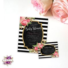 Black and White Stripe - Kate Spade Inspired - Pink Floral Baby Shower Invitation - Book Request - Printable Invitation - Digital Invitation
