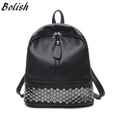 Check lastest price Bolish High Quality PU Leather Women Backpack Preppy Style School Backpack Black Mater Rivet Women Bag just only $14.74 with free shipping worldwide  #womanbackpacks Plese click on picture to see our special price for you