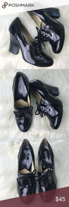 Michael Kors Oxford Heels EUC, a few very minor scuffs. Black patent leather, tie up oxfords by Michael Kors. Size 8 Michael Kors Shoes Heels