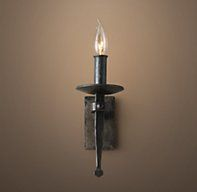 Circa 1920 Spanish Torch Sconce - RH's Circa 1920 Spanish Torch Sconce:Designed by industrial blacksmith Jon Sarriugarte, this collection possesses the muscularity of Spanish Colonial Revival design, popular during the 1920s. The iron bears the firescale marks of authenticity.