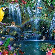 Parrot Tropics by MGL Meiklejohn Graphics Licensing Jungle Art, Parrot, Waterfall, Digital Art, Tropical, Graphics, Wall Art, Artwork, Outdoor