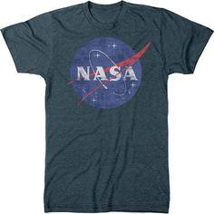 NASA Space Program Meatball Logo Men's Crew Neck Tri-Blend T-Shirt ❤ liked on Polyvore featuring men's fashion, men's clothing, men's shirts and men's t-shirts