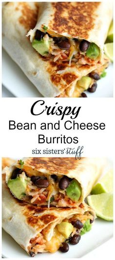 Crispy Bean and Cheese Burritos from Six Sisters Stuff | Stuffed with beans, cheese, cilantro, avocado and lime, this quick & easy dinner recipe is a winner! | Dinner Ideas for Picky Eaters | Family Favorite | Meatless Meals