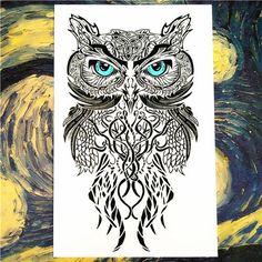 25 Style Wild Temporary Tattoo Body Art, Blue Eyes Owl Designs, Flash Tattoo Sticker Keep 3-5 days Waterproof 20*12cm