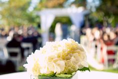 The #hydrangeas were #beautiful, just like the #entire #outdoorwedding. ::Garland + Jordy's gorgeous outdoor lake wedding at the Chatahoochee Country Club in Gainesville, Georgia:: #georgiawedding #creative #weddingphotography #bokeh #subject #photography #ceremony #selectivefocus