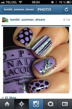 Nails purple black glitter