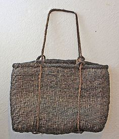 275  18 x 12 Antique Japanese grape vine bark basket used for herb collecting