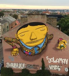 Paint in Lithuania has always been a special place for OSGEMEOS because it is the country where their mother's family originated. The mural in Vilnius city. Graffiti Art, Graffiti Drawing, Street Art News, Street Artists, Urban Street Art, Urban Art, Urban Life, Miyazaki, Pablo Picasso