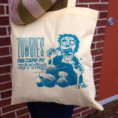 Zombie Knitting Tote Bag Yellow, $10.50, now featured on Fab.   I NEED
