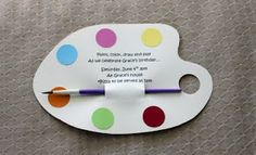 The invitations were cut in the shape of a painter's palette. The 1 inch circles of color, came from paint chips.