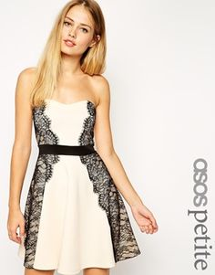 ASOS PETITE Bandeau Lace Placed Skater Dress