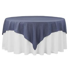 "Faux Denim Table Overlay Topper/Tablecloth 85""x85"" Square - Dark Blue"