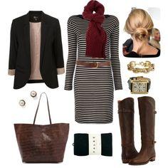 """Striped Sweater Dress"" by bluehydrangea on Polyvore"