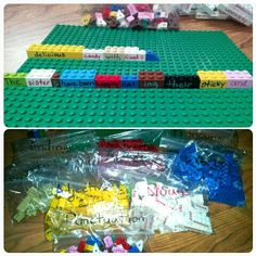 Using multi-colored Sharpies, and a bucket of Legos, I created a fun way to teach sentence building and grammar to my Elementary (K-5) students. I used Ziploc baggies to separate parts of speech and punctuation. Legos created include nouns, verbs, helper (to be) verbs,adjectives, adverbs, articles, pronouns, and endings (i.e. -ed, -s/-es, -ing). When students think of new words they'd like to add, we will create a new Lego for that part of speech! Could be a cool writing center activity as…
