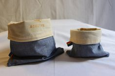 Pack of 2 Light Denim with Unbleached Cotton lining - Natural, Food Safe, Reusable Beeswax Snack Bag - Beeswax Fabric Bag by RainbowBeeDesigns on Etsy