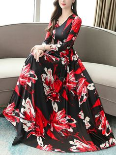 Floral Maxi Dresses Long Sleeves Red Print V Neck Swing Dress Stylish Dresses For Girls, Stylish Dress Designs, Girls Fashion Clothes, Fashion Dresses, Floral Print Maxi Dress, Pink Maxi, White Floral Dress, Maxi Dress With Sleeves, Half Sleeve Dresses