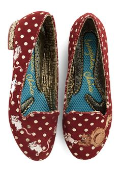 Playing Cat and Mouse Flat. Just like the embroidered cat chasing mice across these burgundy Irregular Choice loafers, you simply must get your hands on this quirky pair! #red #modcloth