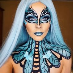 Butterfly Fantasy Make Up Fantasy Transformations for Halloween with Body Paint in 2019 Butterfly Makeup, Butterfly Face, Papillon Butterfly, Art Halloween, Halloween Makeup Looks, Face Paint Makeup, Fx Makeup, Fashing Make Up, Adult Face Painting