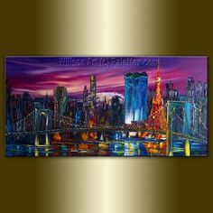 Famous City Skylines - Tokyo Skyline Cityscape Print - Fine Art Giclee Canvas Print from Original Oil Painting by Willson Lau http://www.etsy.com/shop/willsonlau