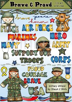 Brave & Proud military clip art, 4th of July, Independence Day, army clip art, cute army images