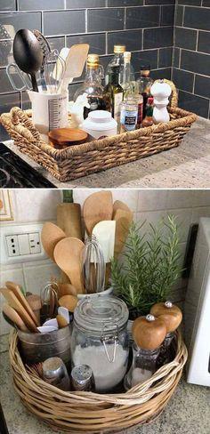 Wicker and rattan basket for organizing kitchen counter, utensils, and essentials. Farmhouse kitchen storage. #afflink