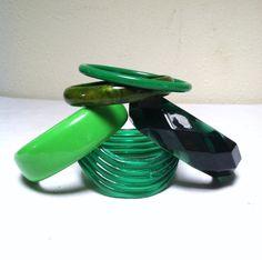 GREEN BANGLE BRACELETS / Retro 80s Jewelry / Plastic by sugarlily, $10.00