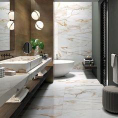 Combine marble with metal textures in a modern space. Achieve this look with our Rebel and Supreme Evo Antique White porcelain collections! Metal Texture, Modern Spaces, Aberdeen, Evo, White Porcelain, Supreme, Surface Area, Bathtub, Showroom