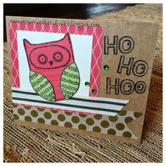 Christmas Card. August Stamp of the Month What a Hoot. #card #owls #CTMH…