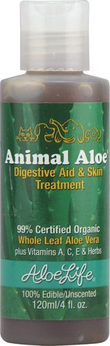 99% Certified Organic     Whole Leaf Aloe Vera     100% Edible/Unscented     Plus Vitamins A, C, E & Herbs   AloeLife Animal Aloe® is especially made for pets. Formulated in 1992 to be 100% safe and edible, AloeLife Animal Aloe® is safe for use externally, post operatively and internally.     Gives soothing relief for rashes, fleas, bites, wounds, hair loss and scarring, etc. Give internally by mouth or in pet's food to relieve symptoms of allergies, colds, fever, kidney and bowel…