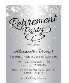 silver retirement party invitation sparkly retirement invites by announceitfavors