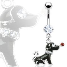 Belly ring with dangling dog