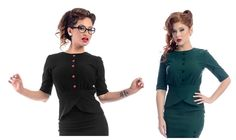 Steady Joan Shirt Top Black Green 1940s 1950s Rockabilly Vintage Retro Pin Up