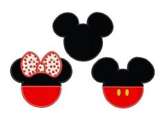 Mickey and Minnie mouse applique design - Set of 3 - Disney embroidery design - Machine embroidery by MisterABC on Etsy https://www.etsy.com/listing/486327314/mickey-and-minnie-mouse-applique-design