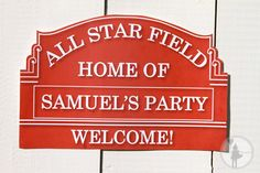 Vintage Baseball Party Customized Welcome Sign