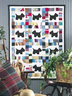 aww to cute i think my daughter would like this  Scottie Dog Scrap Baby Quilt