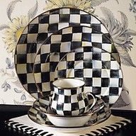 Mackenzie Childs Courtly Check enamelware