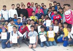 Winners posing alongwith dignitaries during prize distribution function of State Cycling Championship in Jammu.