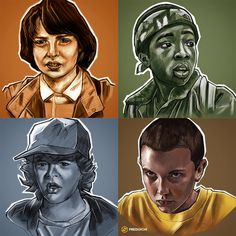 """""""Did some more Stranger Things sketches on my iPad. Gang is complete now."""" (Mike Wheeler, Lucas Sinclair, Dustin Henderson, Eleven)"""