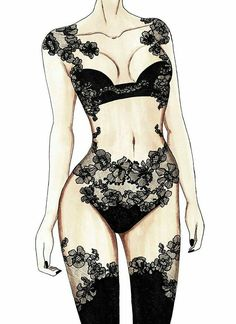 Possibly the most beautiful and intricate lingerie illustration I've ever seen.