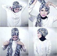 Hijab Tutorial: Simple Turban Style with Motif Scarf  http://hijabchicblog.wordpress.com/2014/03/29/hijab-tutorial-simple-turban-style-with-motif-scarf/