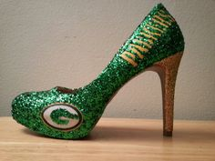 Glitter mid/high heels  Packers by AmandaLeesDesigns on Etsy, $100.00