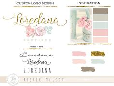 Custom Logo Design  ONE LOGO CONCEPT  Floral Logo by RusticMelody1