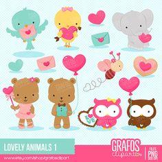 LOVELY ANIMALS 1 - Digital Clipart Set, Bear Clipart, Valentine Clipart, Bird…