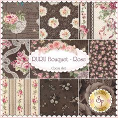 RURU Bouquet 10 FQ Set - Cocoa By Quilt Gate Fabrics: RURU Bouquet is a floral collection by Quilt Gate Fabrics. 100% Cotton. This set contains 10 fat quarters, each measuring approximately 18