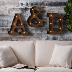 Wood and Metal LED Monogram Plaque at Kirklands