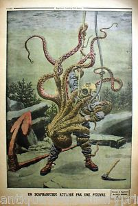 Deep sea diver struggling with octopus tattoo inspiration - tattoo done in American Traditional style on my ribs