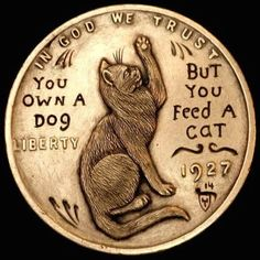 HOWARD THOMAS HOBO PENNY - NO ONE OWNS A CAT - 1927 LINCOLN WHEAT CENT Indian Skull, Hobo Nickel, Coin Art, Owning A Cat, Metal Clay Jewelry, World Coins, Coin Collecting, Wood Carving, Metal Art