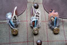 Pheasant Jay feather brooch, hat pin lapel pin, wedding buttonhole, Country wear