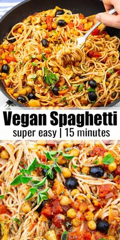 These vegan spaghetti with chickpeas, artichokes, and olives make the perfect weeknight meal! The recipe is super easy and it's packed with flavor! It's one of my favorite vegan pasta recipes! Find more vegan recipes at ! Easy Pasta Recipes, Spaghetti Recipes, Vegan Dinner Recipes, Delicious Vegan Recipes, Healthy Recipes, Olive Pasta Recipes, Pasta Spaghetti, Quick Recipes, Vegetarian Spaghetti